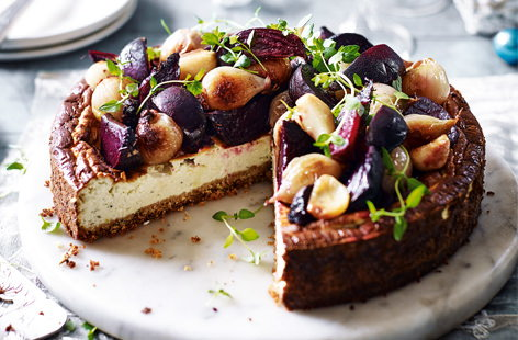 Cheesecake, but not as you know it. This savoury twist on the classic has a gluten-free breadcrumb base, fragrant cream cheese filling and is topped with a vibrant medley of beets and shallots for a gorgeous free-from main.