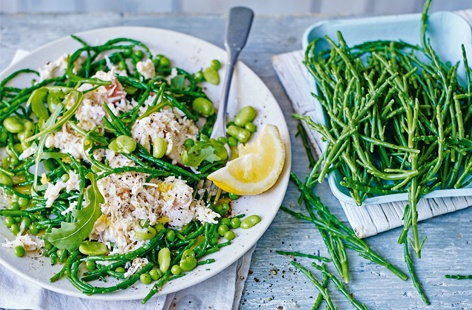 A crisp coastal vegetable that tastes of the sea, samphire makes this sophisticated salad the perfect light lunch or seasonal starter. The salty flavour works beautifully with the sweet crab meat and vibrant summer beans