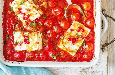 Delicately spiced with harissa and perfumed with preserved lemons, this quick and easy dinner has all of the fragrant flavours of the Middle East. Juicy cherry tomatoes and creamy feta are baked in the oven with a sprinkling of pomegranate seeds to finish