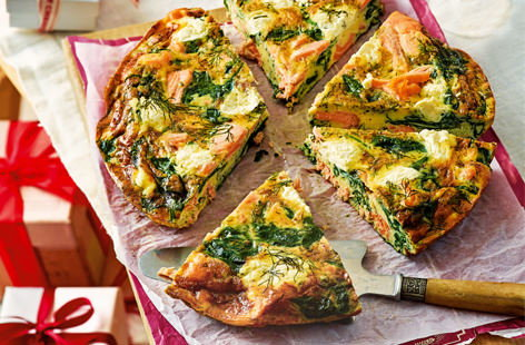 Hot smoked salmon and cream cheese is a marriage made in brunch heaven. Rustle up this gorgeous frittata in less than half an hour for a healthy, hearty dish that is as perfect for lazy weekend mornings as it is for breakfast on the go.