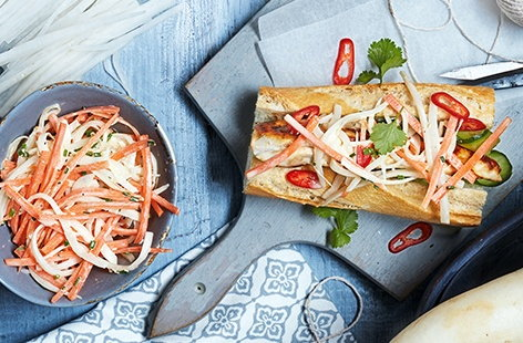 Barbecue chicken baguette with mooli and carrot slaw