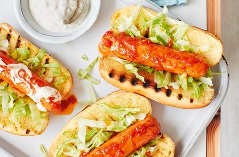 Fried in a fiery chilli butter and drizzled with tangy blue cheese and sour cream dressing, hot dogs just got hotter. And these quick and easy frankfurters are a great back-up plan if the rain hits during your next barbecue