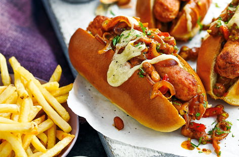 Pack some heat into your midweek meals with these veggie-friendly chilli dogs, loaded with spicy beans and pickled jalapeños. Ready in less than half an hour, they're perfect for kicking back with a beer and a side of crispy fries.