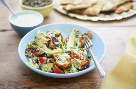 Tandoori chicken and whole grain salad