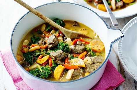 This wonderfully comforting stew has a light, summery twist thanks to tons of Caribbean flavour. Marinating rump steak in jerk paste makes it fantastically fiery – cooking in a creamy coconut milk and thyme sauce really helps tenderise the meat