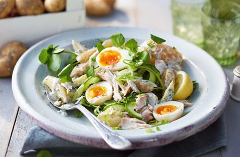Jersey Royal, mackerel and cucumber salad