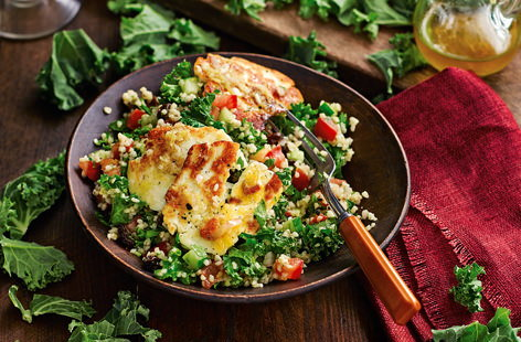 Adding a handful of peppery kale to a classic tabbouleh and topping with slices of halloumi, will turn an already tasty dish into one that's bursting full of delicious new flavours.