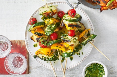 Tossed in a tangy lemon, herb and caper dressing, this vibrant veggie kebab recipe, which only takes 15-20 minutes on the BBQ, makes a lovely, light alfresco dinner