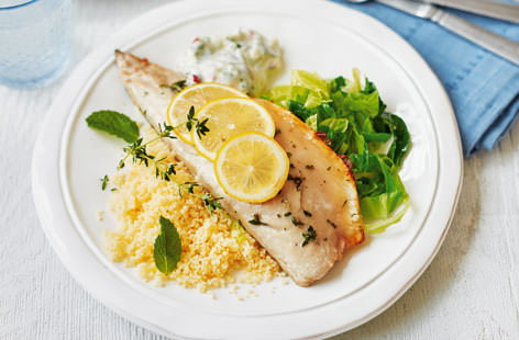 Lemon-roasted mackerel fillets with apple tzatziki