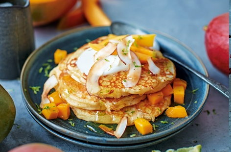 Serve up these quick and easy pancakes as a brilliant breakfast in bed or brunch. Topped with sweet mangoes, creamy coconut and sharp lime these buttermilk pancakes are bursting with flavour
