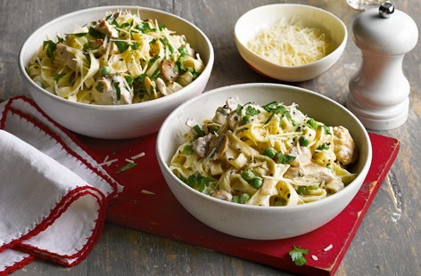 Lemony chicken, mushroom and pea pasta
