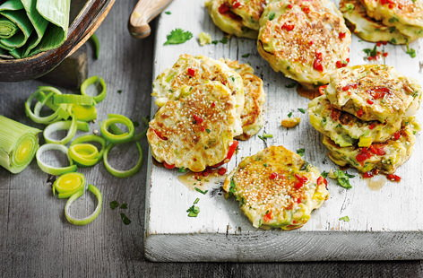 Leek and chilli pancakes