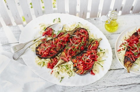 Aubergine steaks with peperonata salsa