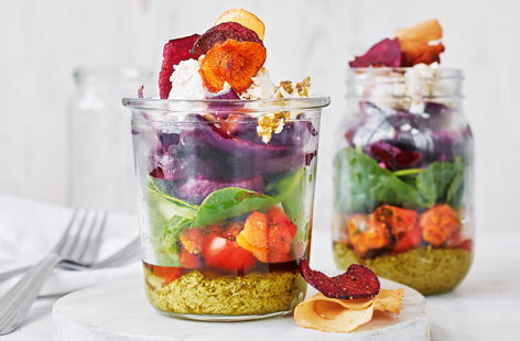 For a light lunch that's sure to brighten your day, look no further than these vibrant pesto salad pots