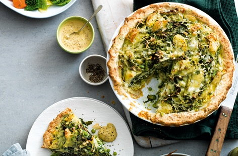 Spring green, potato and ricotta homity pie