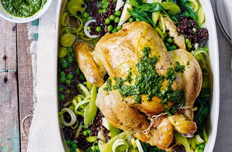 Pot-roast chicken with lentils and spinach pistou