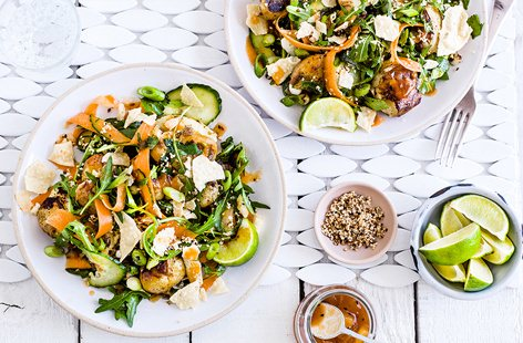 This Indian-inspired potato salad has all you need to spice up your midweek meals. Charlotte potatoes are roasted in fragrant spices until gorgeously golden and mixed together with strips of juicy carrot, cucumber and rocket
