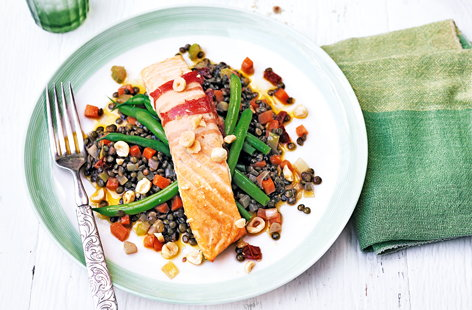 Roasted pancetta-wrapped salmon with lentils
