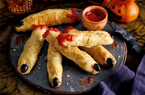 These pastry fingers make a fiendishly good snack at any Halloween party. Super-easy to make, the kids will be pleasantly surprised when they take a bite and discover a delicious sausage filled centre.
