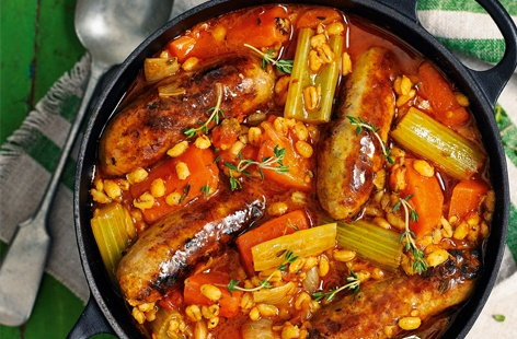 Pearl barley and sausage stew