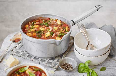 Chunky minestrone soup with gnocchi