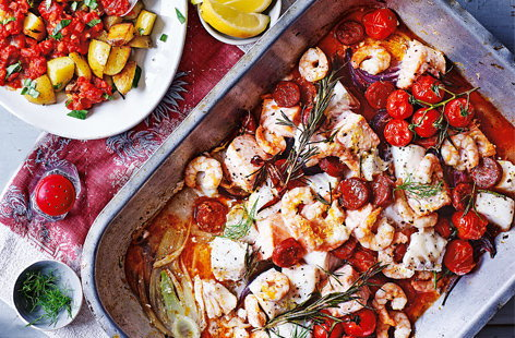 Spanish roasted fish with patatas bravas