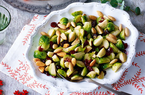 This Christmas give sprouts a delicious festive twist by adding sweet cranberries and golden almonds.
