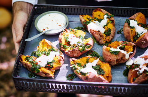 Roasted sweet potatoes with gremolata