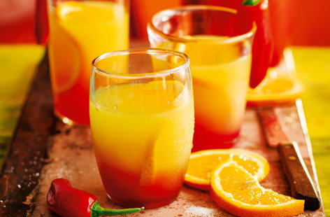 Chilli-infused tequila sunrise