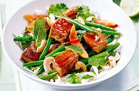 Sticky tofu and papaya salad