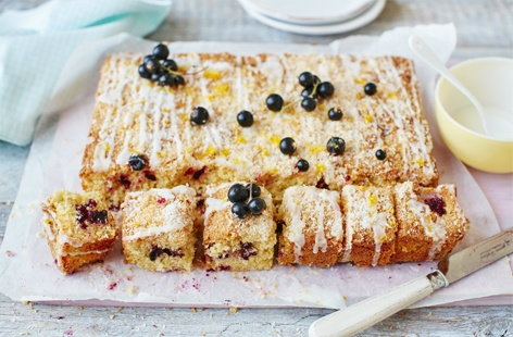 Iced lemon, coconut and blackcurrant traybake