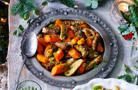 Serve up a delicious bowl of slowly-roasted artichokes, parsnips and carrots alongside your turkey this Christmas.