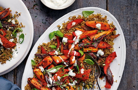 Harissa-roasted root veg with herby yogurt