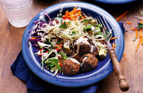 Rainbow salad with black bean falafel