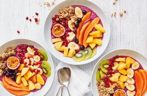 The best way to embrace the trend for colourful fruit – this nutritious parfait is full to the brim with gorgeous fruits, from tropical kiwi and pineapple to juicy mango and blueberries. What's more, this breakfast bowl can be made up in 20 minutes