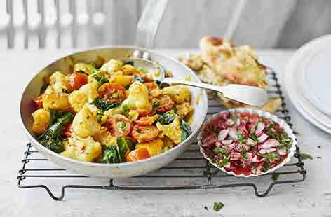 This traditional Indian-style aloo gobi is made with potatoes, cauliflower and the classic Indian flavours of cumin, coriander, turmeric and ginger. This wonderfully warming dish can be enjoyed as a lighter midweek meal