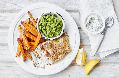 Poppy seed-crusted haddock with sweet potato fries