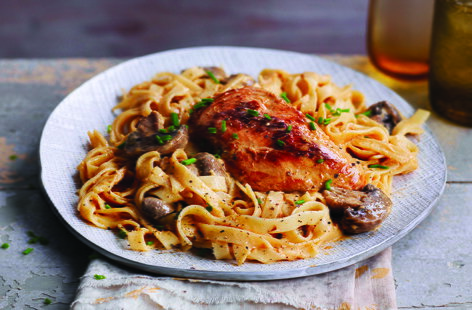 Succulent chicken breasts, meaty mushrooms and rich sour cream marry together wonderfully in this warming midweek main