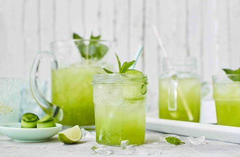 Cucumber, lime and elderflower coolers