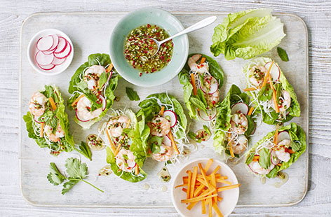 Vibrant and crunchy, these Vietnamese lettuce cups are filled to the brim with rice noodles, fragrant herbs and juicy prawns, and a tangy chilli-spiked dressing brings everything together beautifully