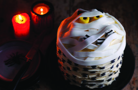 This terrifying marshmallow mummy cake is a real Halloween showstopper that's sure to impress your guests. Vanilla-flavoured sponge sandwiched with a gory cherry jam and coconut filling – with a few decorations this Halloween bake really comes to life