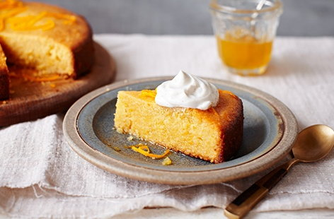 Orange polenta cake with honey syrup