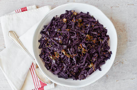 Red cabbage with thyme and caraway butter