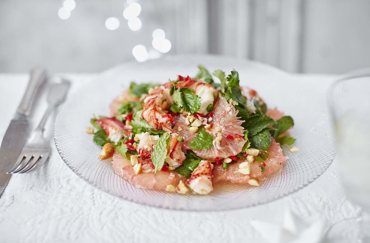 Set the tone for your Christmas dinner with this impressive, luxurious starter. A Vietnamese-inspired salad that pairs meaty lobster with sharp grapefruit, fresh mint and a wonderfully fragrant sweet and sour dressing