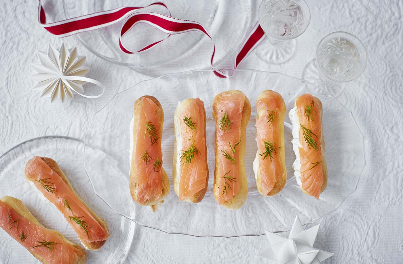 Smoked salmon and horseradish cream eclairs