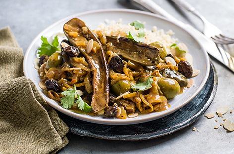 Vegetarian aubergine and olive tagine