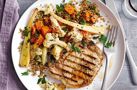 With griddled pork chops, roasted winter vegetables and light, fluffy quinoa, this beautiful pork recipe is easy to make and packed with flavour for a delicious midweek meal. Drizzle with lemon for a refreshingly zesty finish