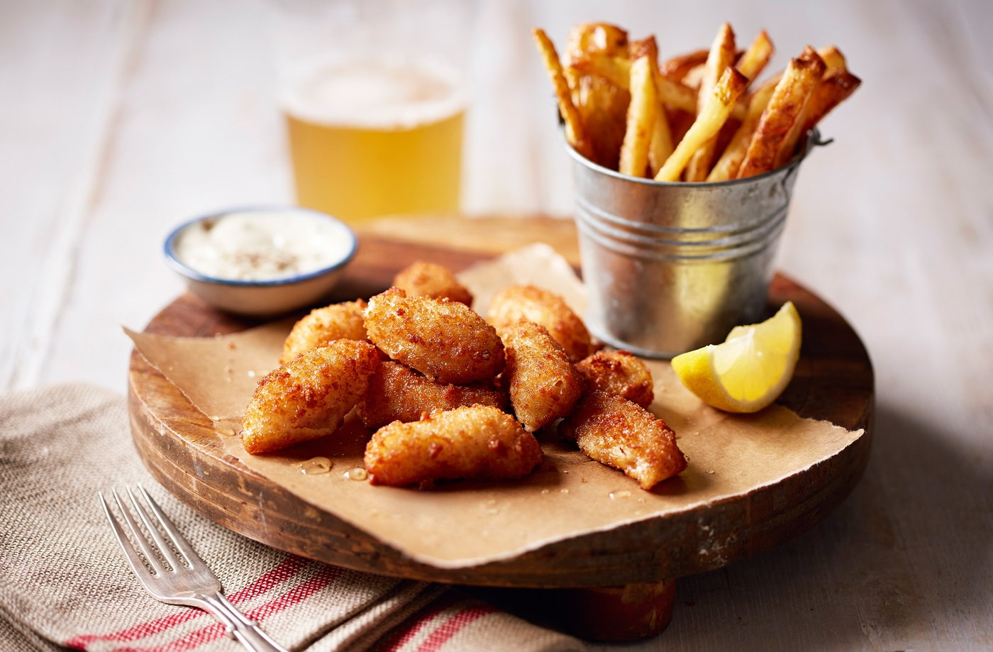Scampi with salt and vinegar chips recipe