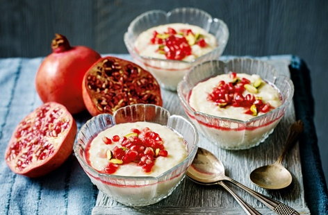 Rosewater rice pudding with pomegranate and pistachio