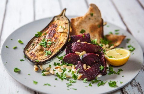 Roasted beetroot and aubergine with tahini yogurt
